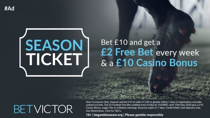 Bet-Victor-Season-Ticket-2019 Weekend Football Accumulator Tips for Saturday 17th August @ 14/1