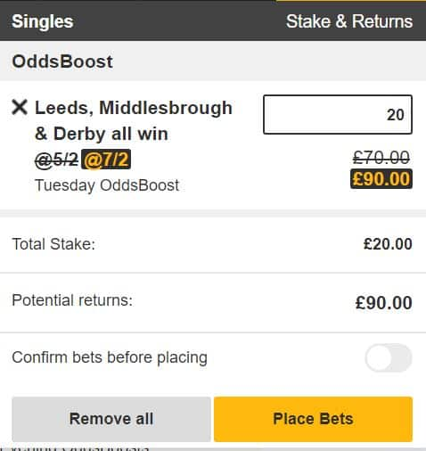7/2 Carabao Cup Treble for Tuesday 13th August from Betfair