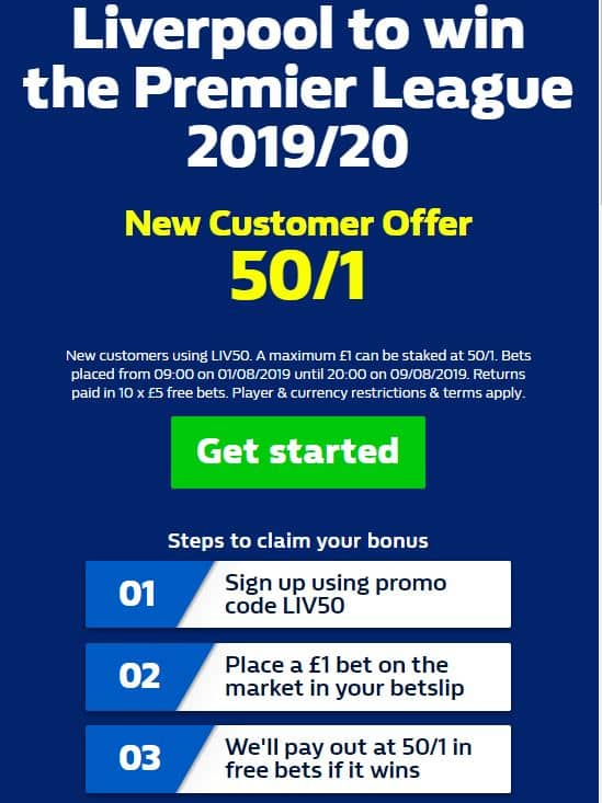 Liverpool-50s-title 50/1 - Liverpool to win the 2019/20 Premier League Title