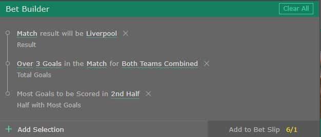 Chelsea Liverpool bet builder