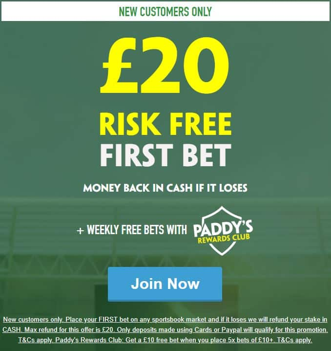 Paddy Power risk free £20