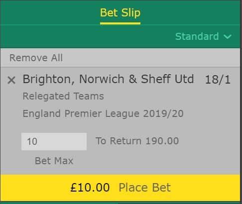 Premier League relegation betting tips 2019/20