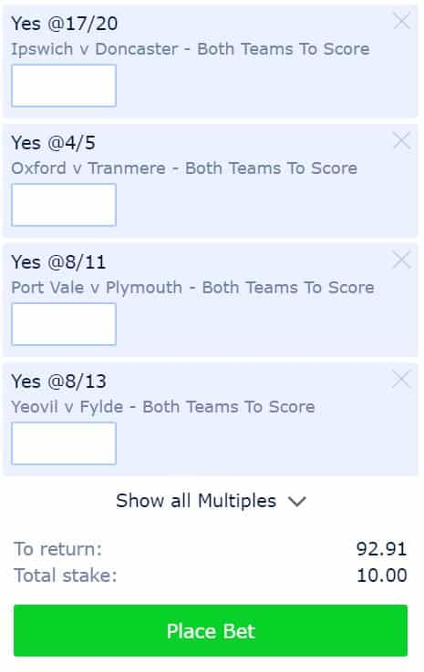 BTTS-14th-September BTTS Accumulator Prediction for Saturday 14th September at 8/1