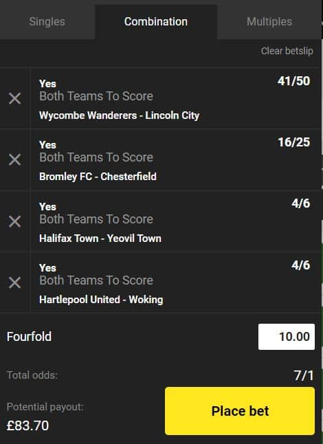 BTTS-6th-Sept Both Teams to Score Accumulator Tips for Saturday 7th September
