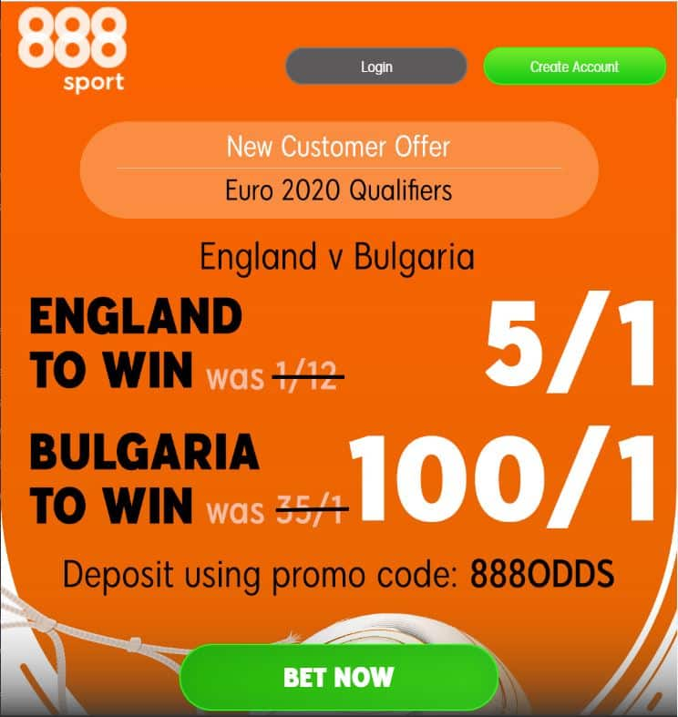 England 5/1 to beat Bulgaria