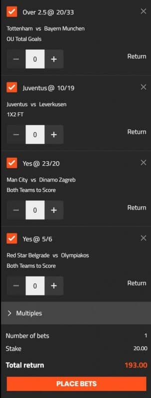 Champions League Acca