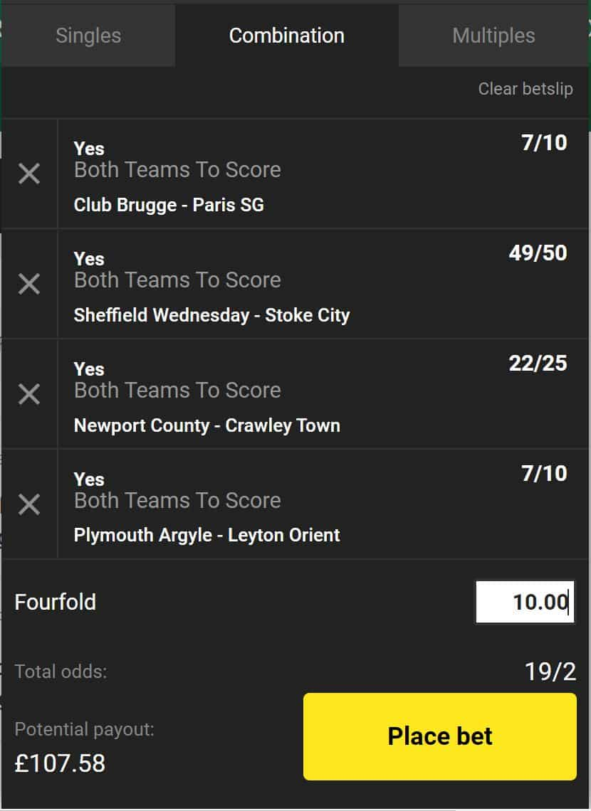 BTTS tips today