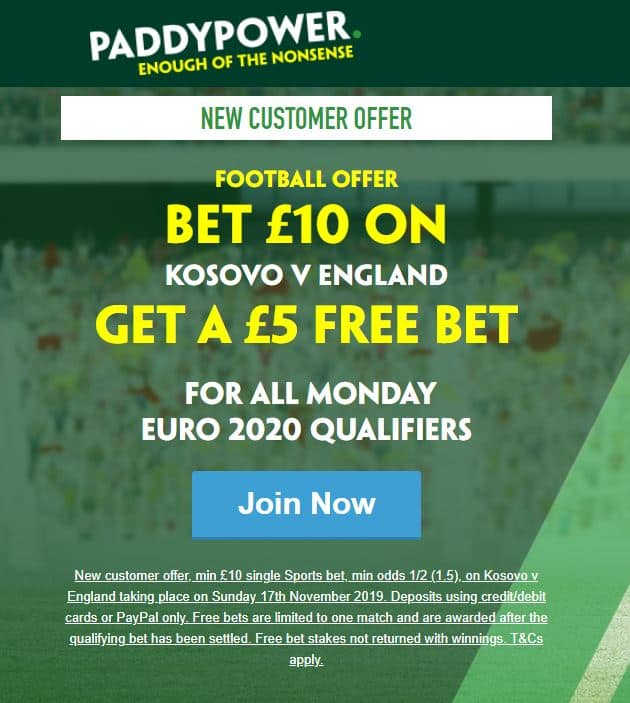 Paddy Power England offer