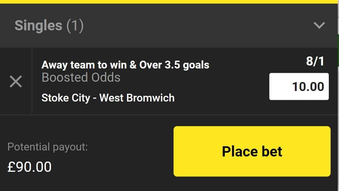Stoke vs West Brom odds boost