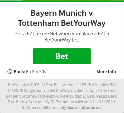 Bayern Munich vs Tottenham: Win £95 from a £5 Free Bet at Betway