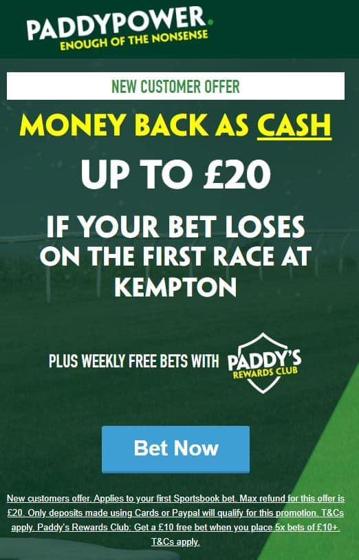 Kempton first race Paddy Power