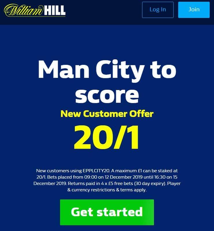 Man City to score 20/1