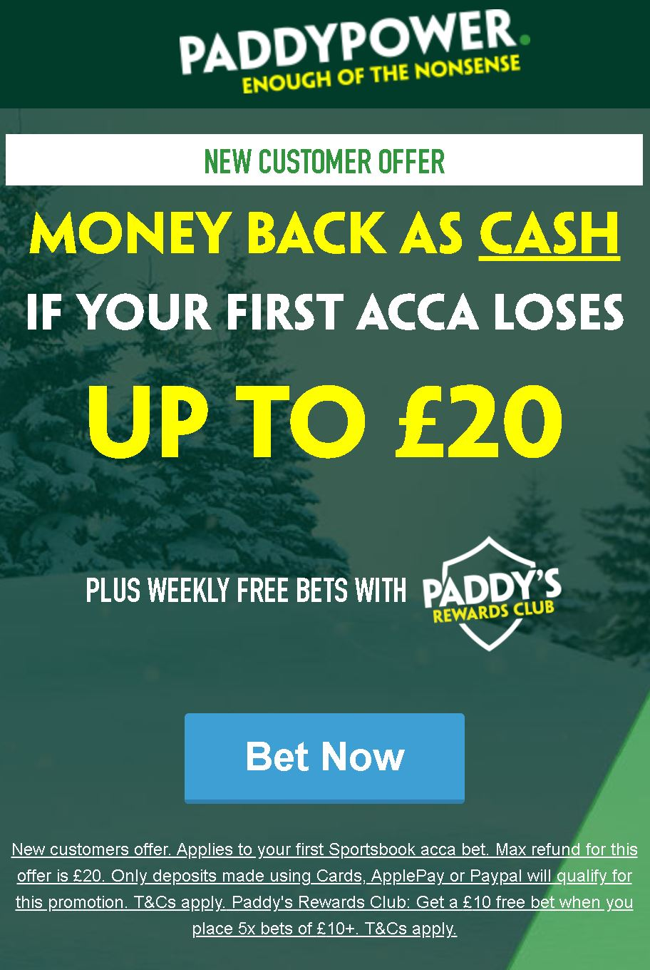 Paddy Power £20 acca offer