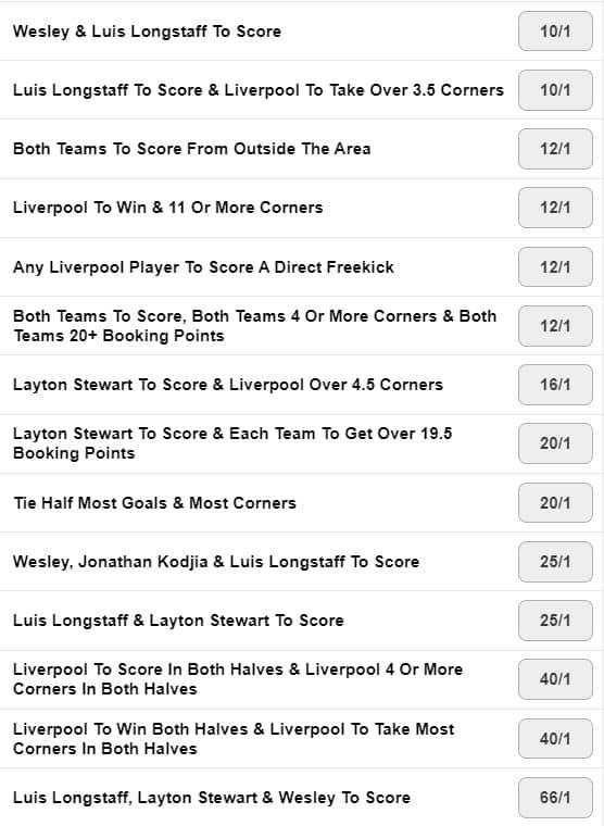Aston Villa Liverpool pickyourount