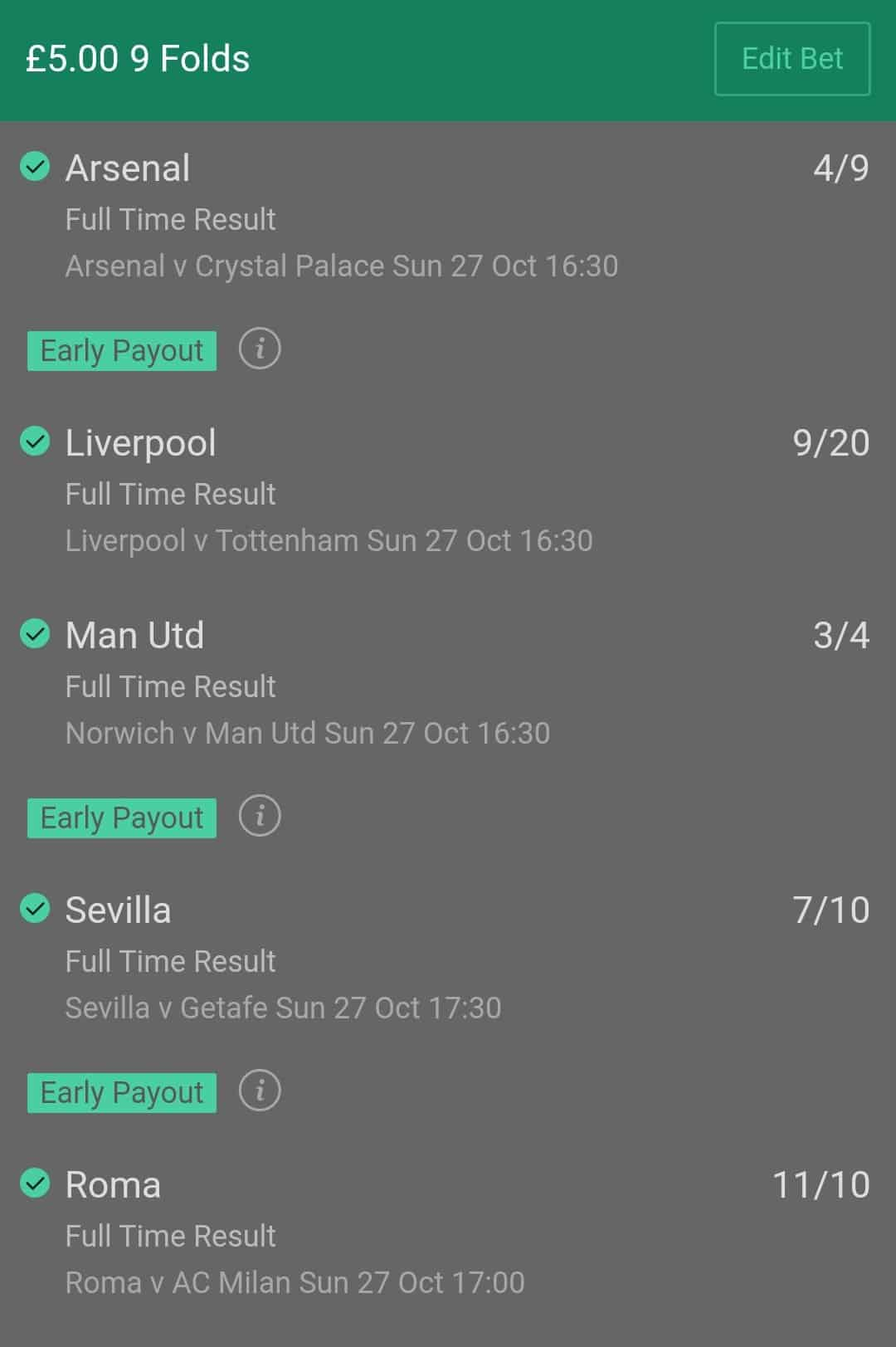 bet365 early pauout