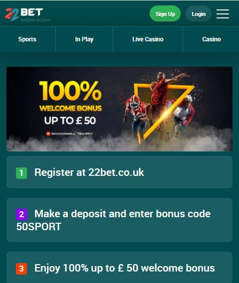22Bet sign-up offer