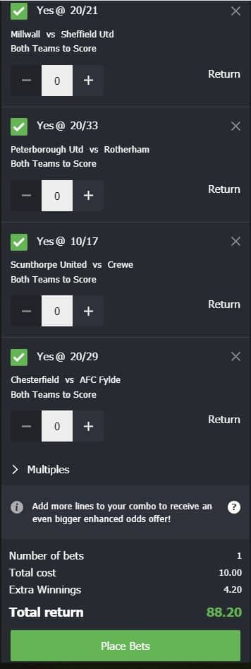 BTTS tips this weekend