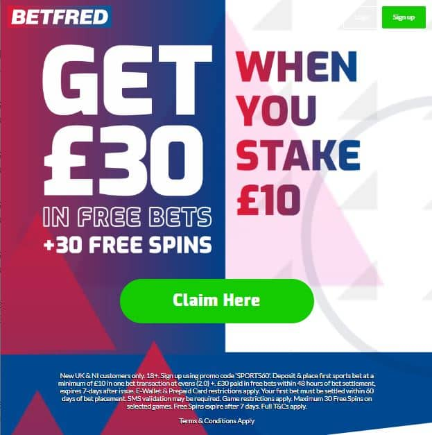 Betfred sign-up offer £30 free bet