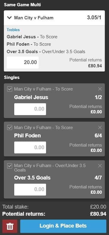 Man City vs Fulham betting tips