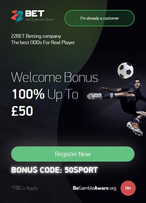 22Bet free bet offer