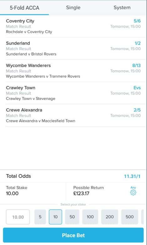 Football accumulator tip