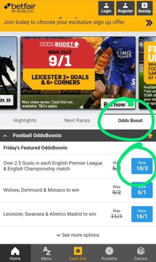 Betfair odds boost