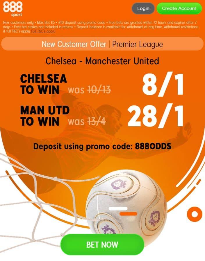 Chelsea vs Man United odds boosts