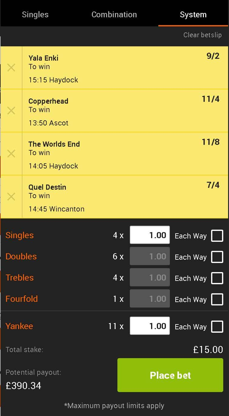 Lucky 15 betting tips today