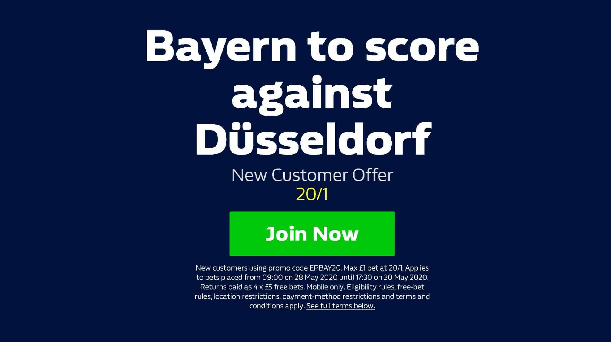 Bayern Munich 20/1 boost