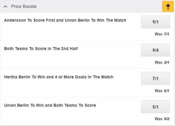 Hertha vs Union price boosts