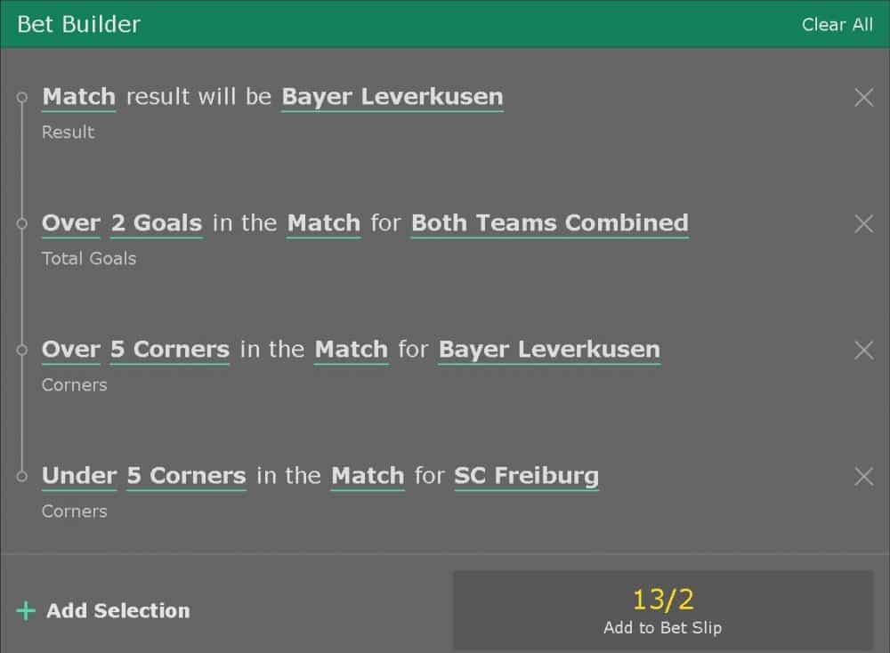 Freiburg vs Lekerkusen bet builder tip