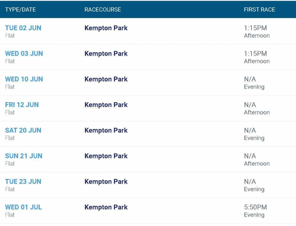 Kempton races fixtures