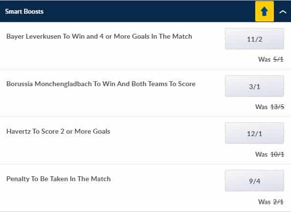 Monchengladbach vs Leverkusen price boosts