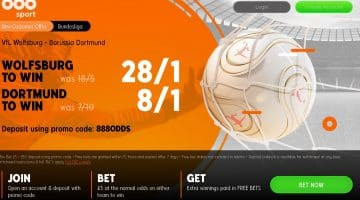 Enhanced odds Wolfsburg v Dortmund