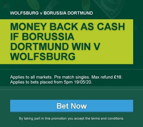 Wolfsburg vs Dortmund betting offer