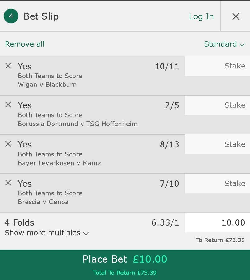 BTTS betting tips