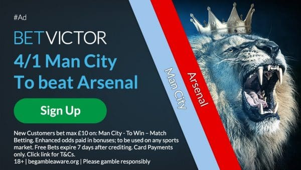 Man City 4/1 to beat Arsenal
