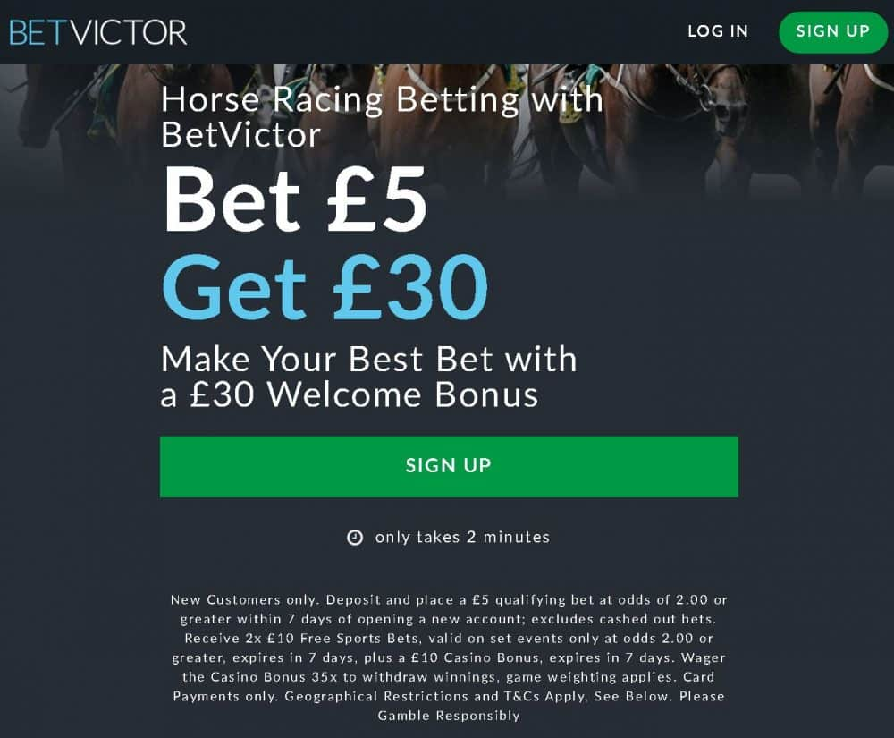 Bet Victor horse racing free bet