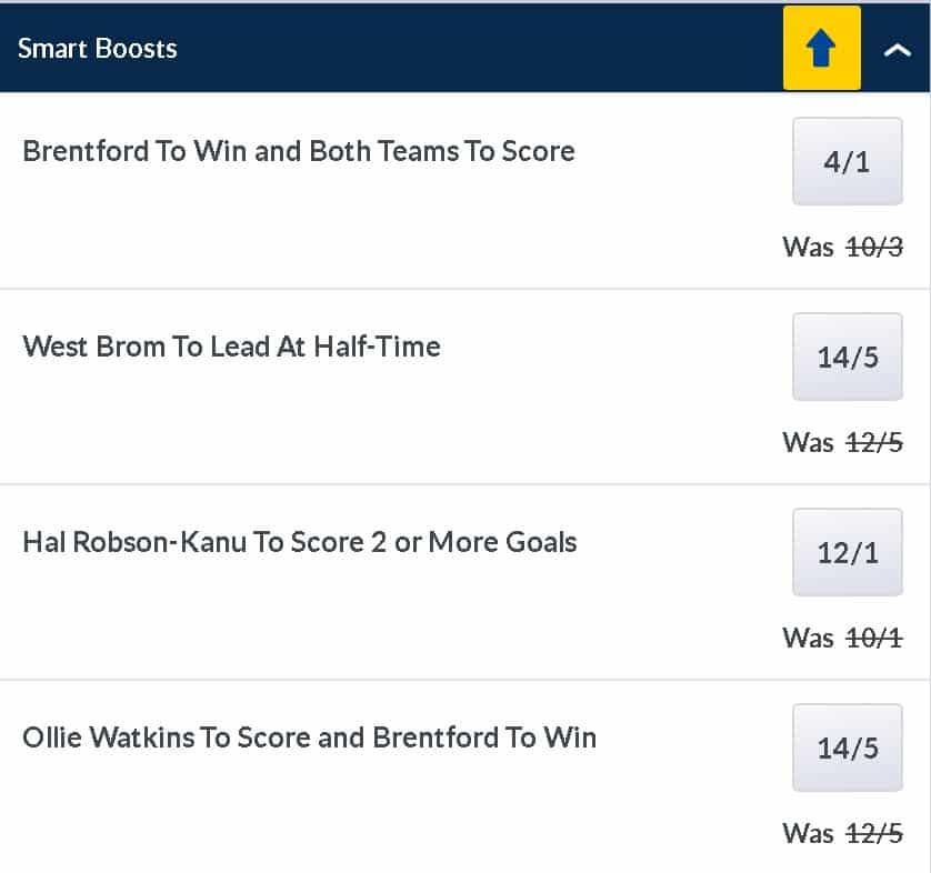 Brentford v West Brom price boosts