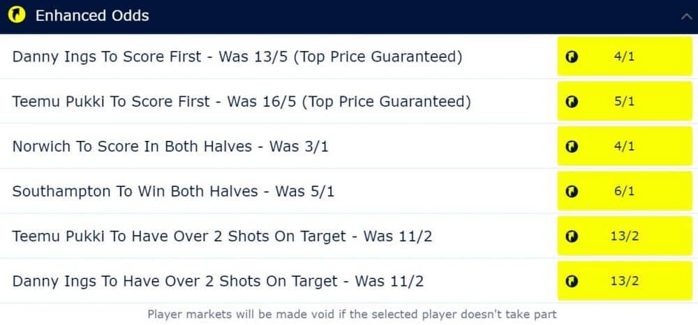 Norwich vs Southampton price boosts