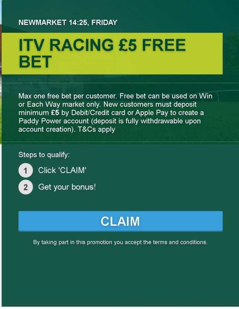 No deposit £5 free bet