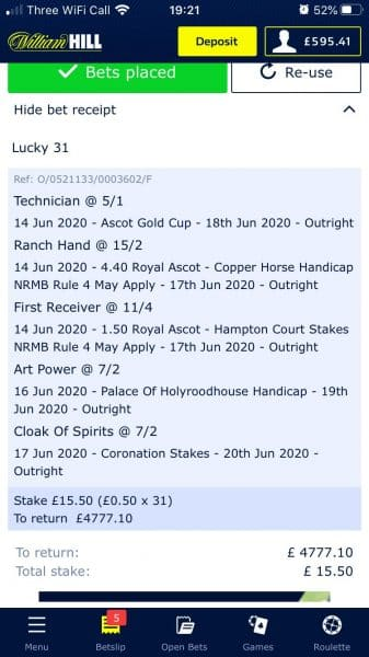 Royal Ascot lucky 31 tips