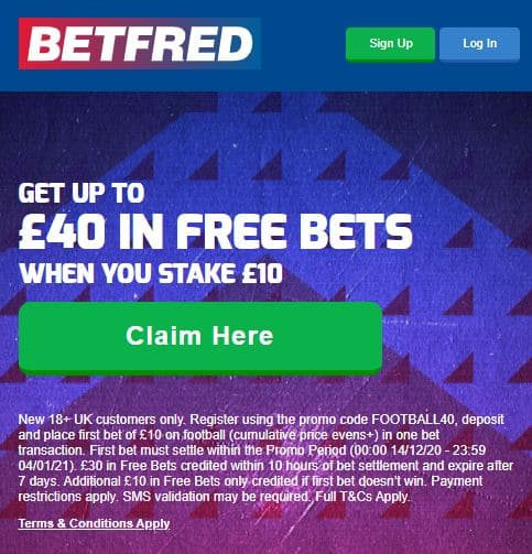 Betfred bet £10 get £40 offer