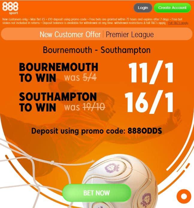 Bournemouth Southampton 888boost
