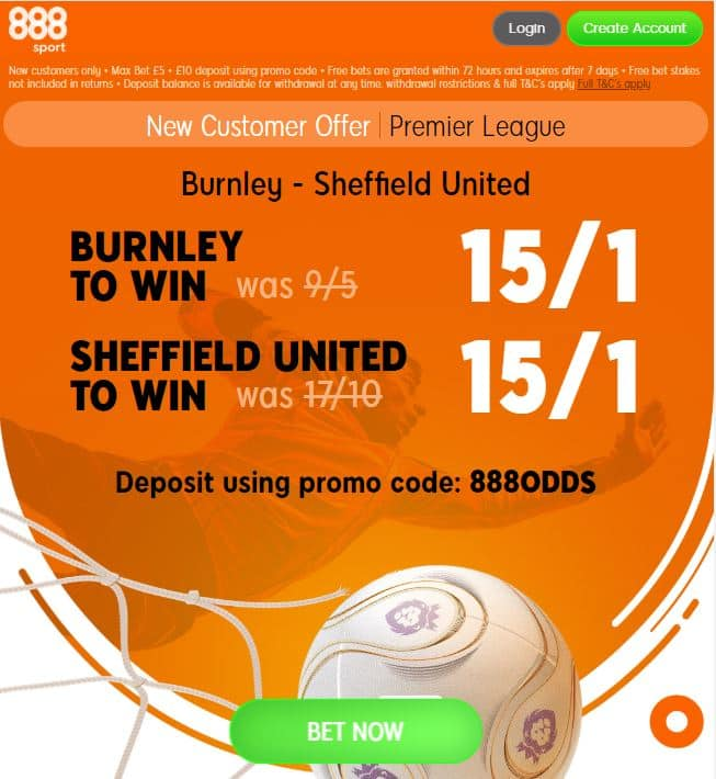 Burnley vs Sheffield United price boosts