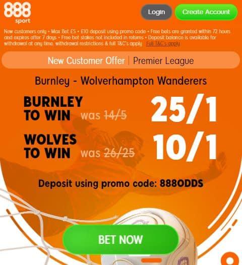 Burnley vs Wolves boost