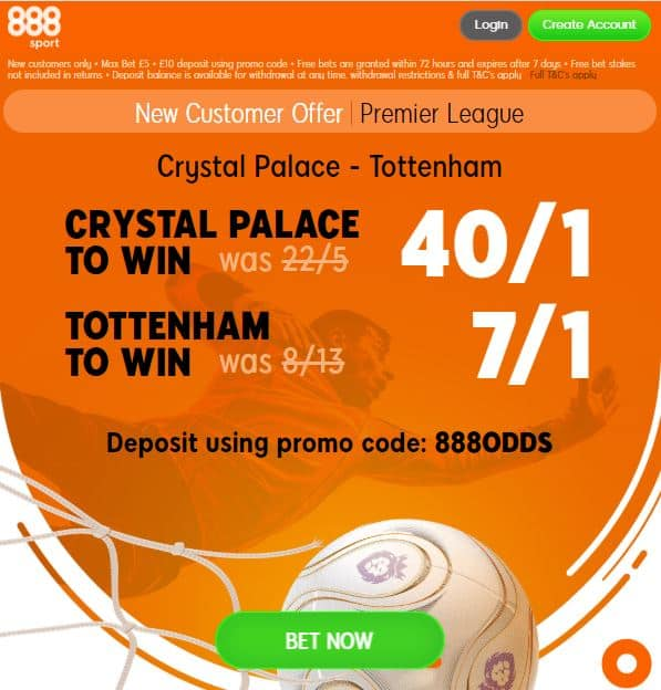 Crystal Palace vs Tottenham boost