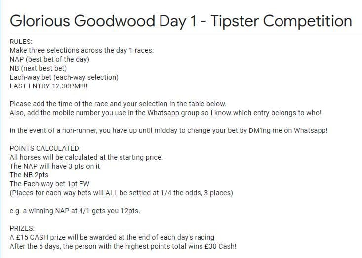 Goodwood tipping comp