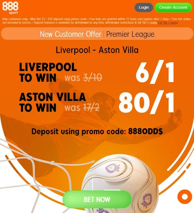 Liverpool v Aston Villa enhanced odds