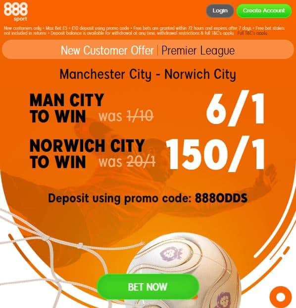 Man City vs Norwich price boost